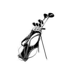 hand drawn sketch of golf bag in black isolated vector image