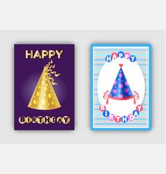 happy birthday magic hats carnival headwear vector image