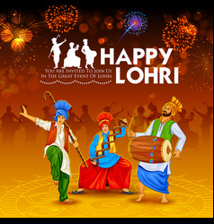 happy lohri holiday background for punjabi vector image
