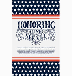 happy veterans day hand lettering background vector image