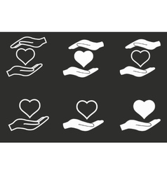 Heart in hand icon set vector