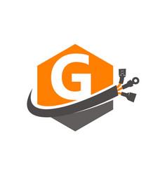 Hexagon global electricity letter g vector