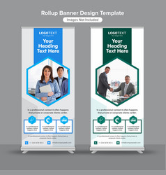 Hexagonal medical roll up banners vector