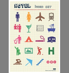Hotel and service web icons set vector image vector image