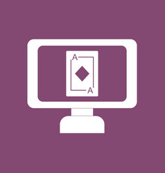 Icon ace of diamonds screen vector