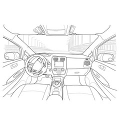 interior of electromobile with automatic gearbox vector image