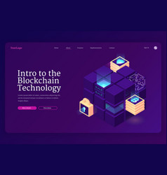 intro to blockchain technology isometric landing vector image