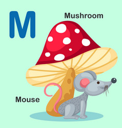 Isolated animal alphabet letter m-mouse mushroom vector