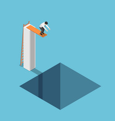 Isometric businessman at highest point ready vector