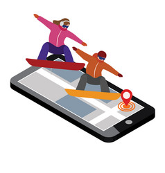 Isometric man and woman hav boarding in vector
