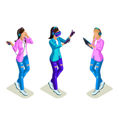 isometric young people teenagers cool girls gen vector image
