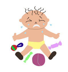 Kids temper tantrum crying child vector