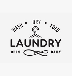 Laundry wash dry and fold sign open daily vector
