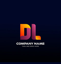 Letter dl initial logo with colorful vector