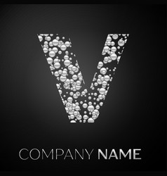 letter v logo silver dots alphabet logotype vector image