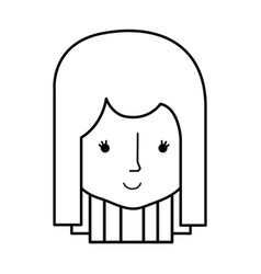 line happy woman head and nice face vector image