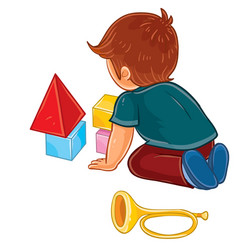 little boy sitting on the floor and playing vector image