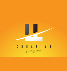 Ll l letter modern logo design with yellow vector