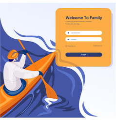 Login page design concept man on kay vector