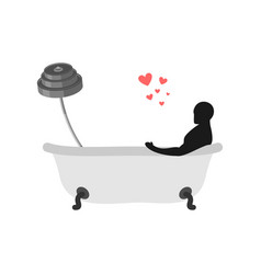 lover fitness sport man and barbell in bath vector image