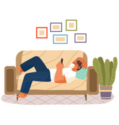 Man is lying on couch and holding phone in hand vector