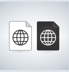 Map document file icon with globe linear icon vector