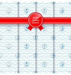 Marine Set of Seamless Patterns vector