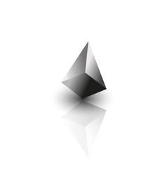 Metal pyramid on mirror vector