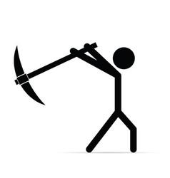 Miner silhouette icon vector