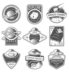 Monochrome space ufo and planet labels logos vector