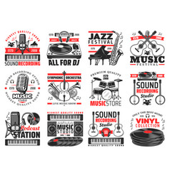 Music and sound recording studio instrument icons vector
