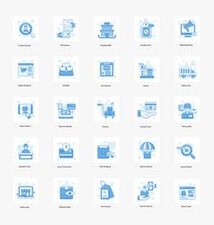 Online shopping and logistics flat set vector