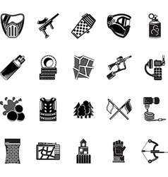 Paintball black icons collection vector image