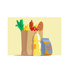 Paper package with fresh groceries vector
