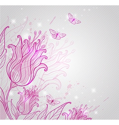 Pink tulips and butterflies vector