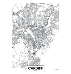 Poster detailed city map cardiff vector