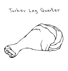Raw turkey leg quarter realistic vector