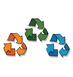 Recycle icon in sketch three color orange green vector