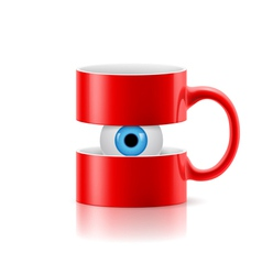 Red mug of two parts with an eye inside vector
