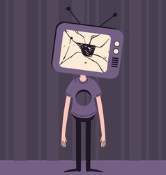 Sad tv head boy with hole in chest vector
