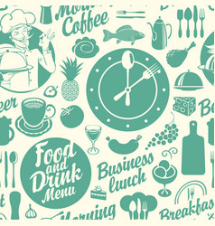 Seamless background on theme food and drink vector