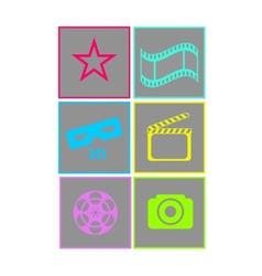 set flat neon colored cinema icons vector image