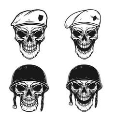 Set of soldier skull in battle helmet and vector