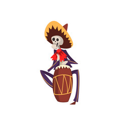 Skeleton in mexican national costume playing vector