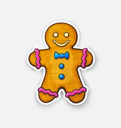 Sticker christmas cookies gingerbread man vector