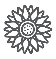 sun flower line icon farming and agriculture vector image