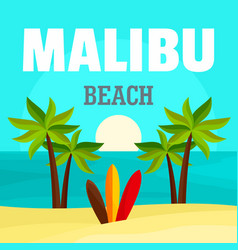Sunrise at malibu beach background flat style vector