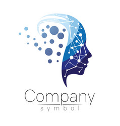 Symbol of human head profile face blue vector