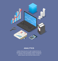 taxes analytics banner vertical isometric style vector image