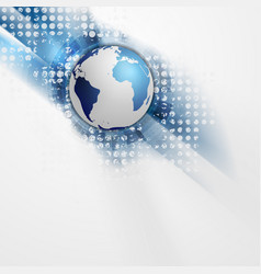 Technology blue grunge background with globe vector